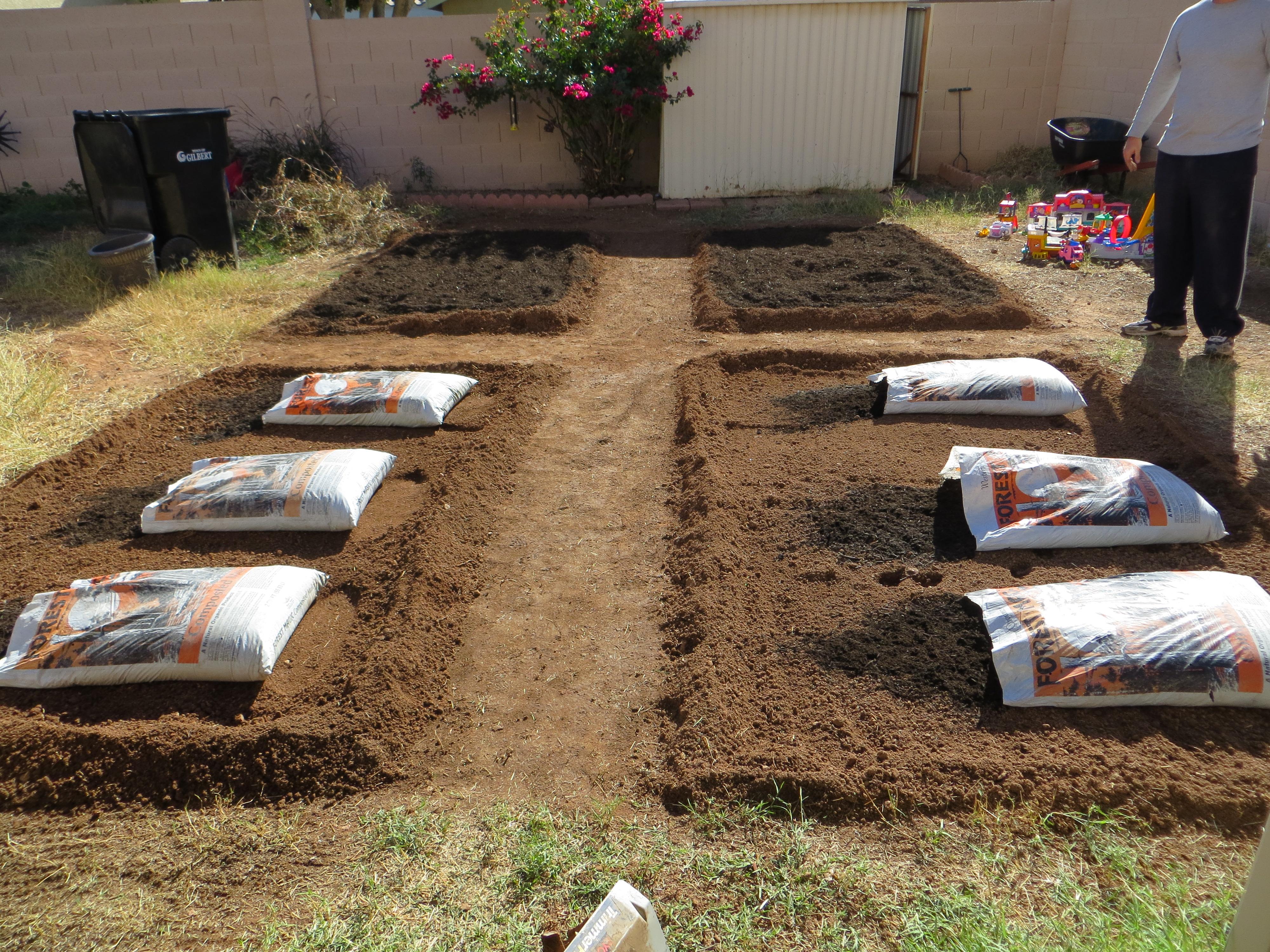 backyard garden beds soil mixture
